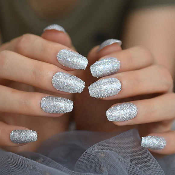 Silver Glitter Coffin Press On Nails - She's A Beat Beauty