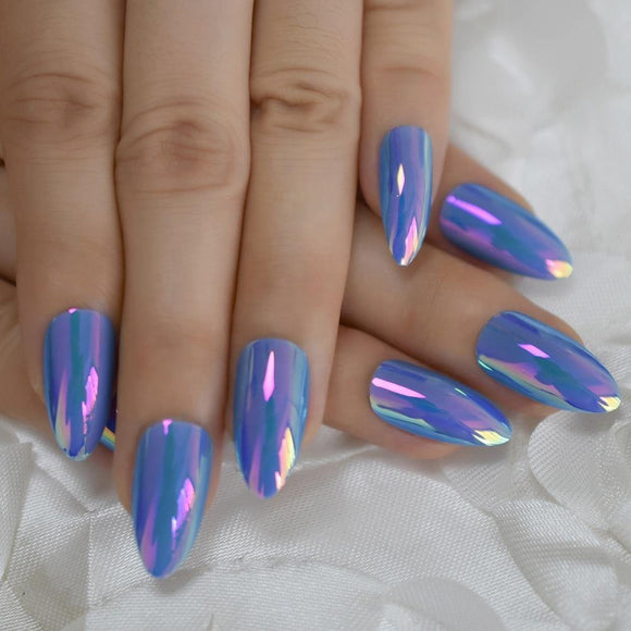 Sky Blue Holographic Stiletto Press On Nails - She's A Beat Beauty