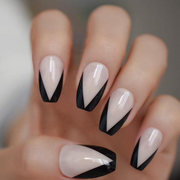 Black V Shape Nude Coffin Press On Nails - She's A Beat Beauty