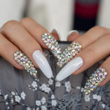 Luxurious Sparkling 3D Rhinestone Coffin Press On Nails - She's A Beat Beauty