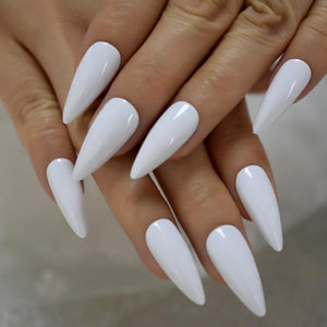 Shiny White Pointed Press On Nails - She's A Beat Beauty