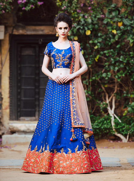 Perfect MOHA Lehenga for Bride Sister in Blue Colour.