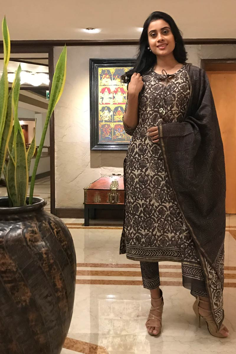 Slate Black Chanderi Silk Hand Block Printed Dabu - 3 Piece Suit Set