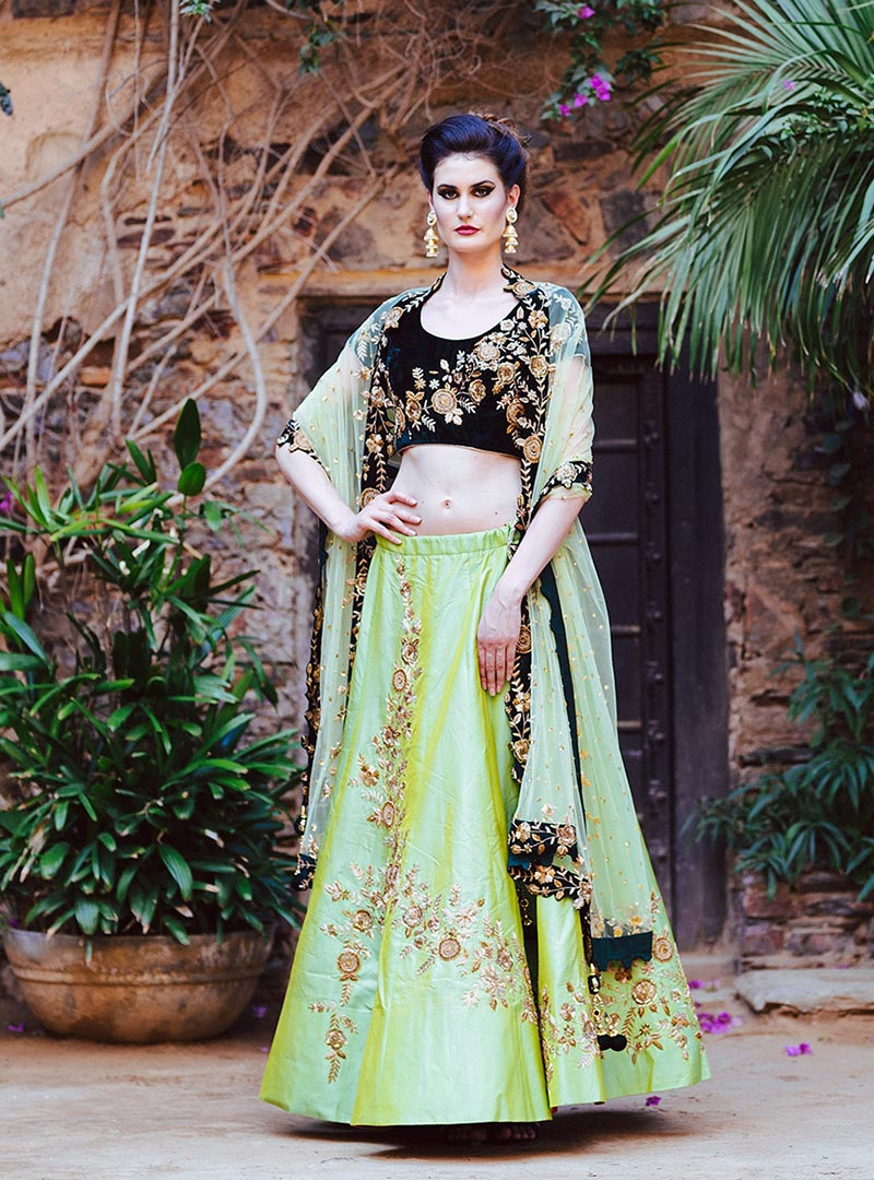 Nandini | Lime Green Raw Silk Lehenga for Reception by Moha Atelier