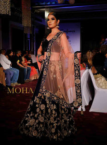 Neelkamal Blue Velvet Lehenga for Bride by Moha Atelier Kolkata