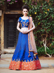 Rain Drop | Royal Blue Raw Silk Lehenga - Moha Atelier