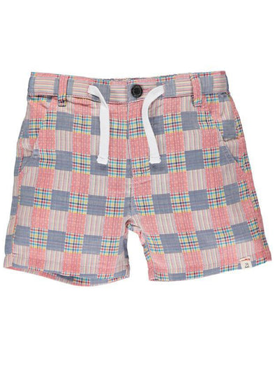 Me & Henry Crew Shorts - Coral Patchwork Plaid