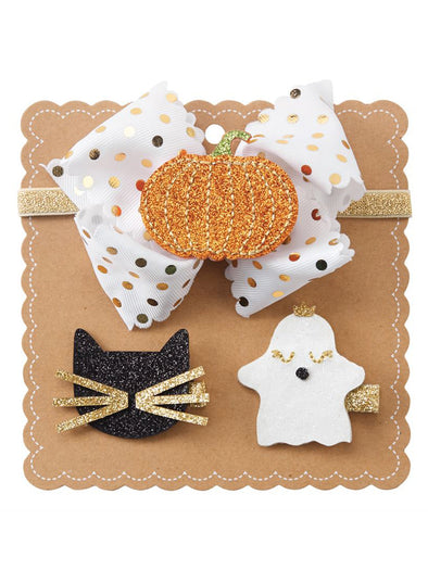 Mud Pie Halloween Bow Set