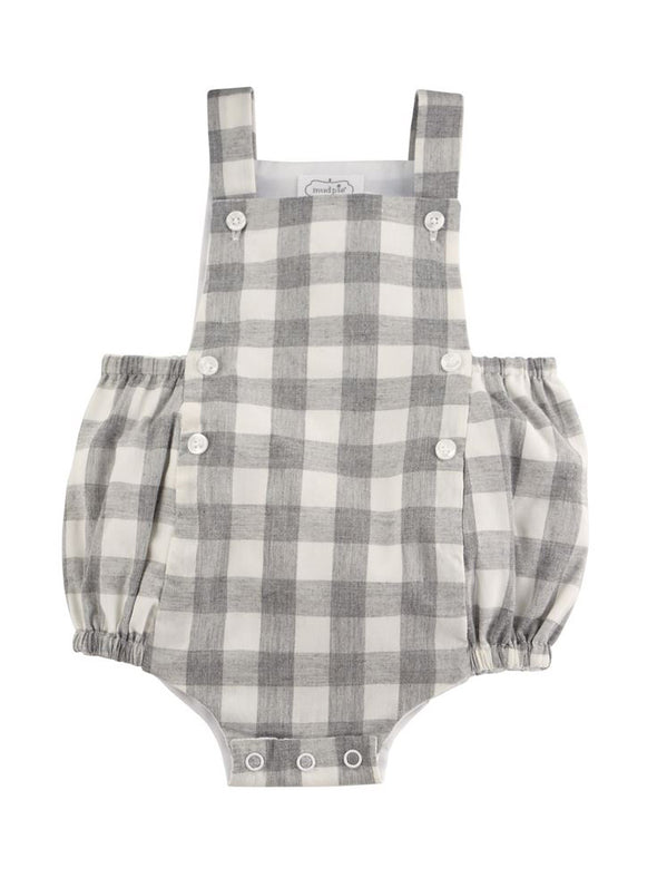 Mud Pie Grey Cotton Gingham Bubble
