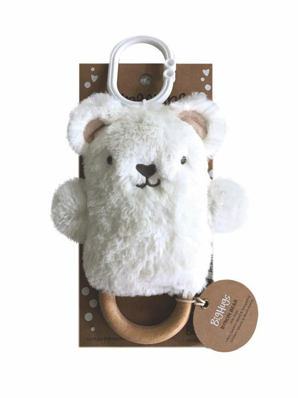 Byron Bear Wooden Teether (White)