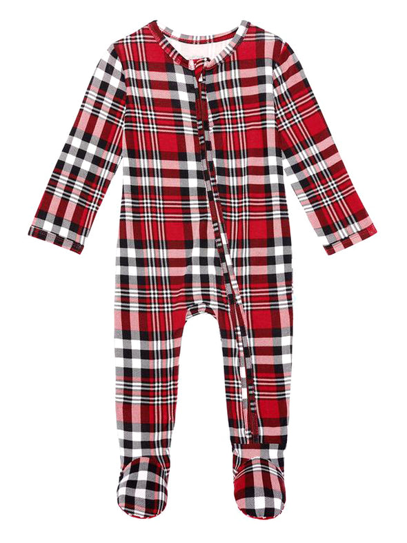 Posh Peanut Noah Plaid Footie Zippered One Piece