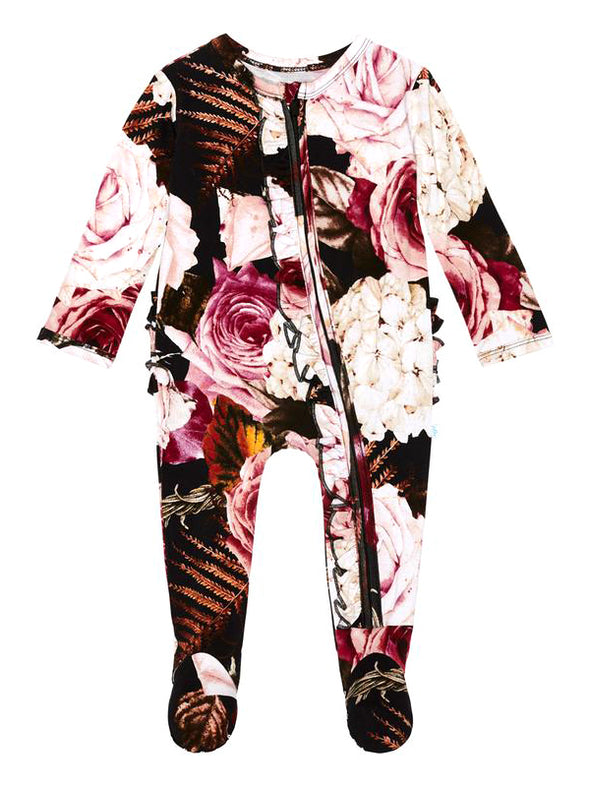 Posh Peanut Zoey Floral Footie Ruffled Zippered One Piece