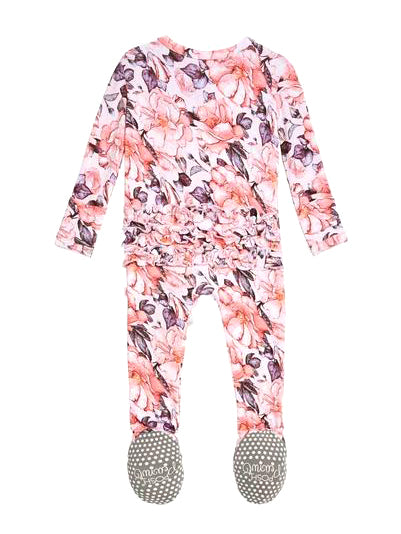 Posh Peanut Vivi Floral Ruffled Zipper Footie