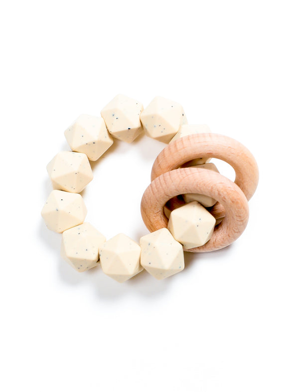 Three Hearts Abby Teething Rattle - Navajo Beige Speckle