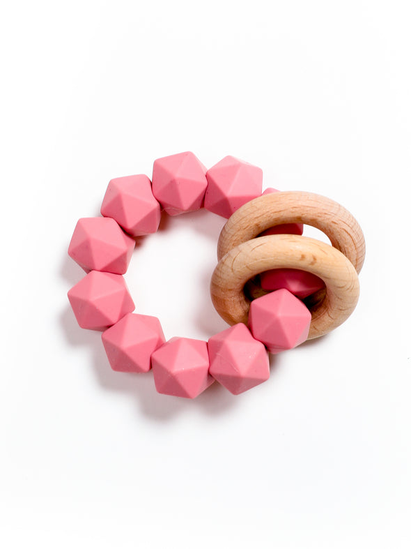 Three Hearts Abby Teething Rattle - Dusty Rose
