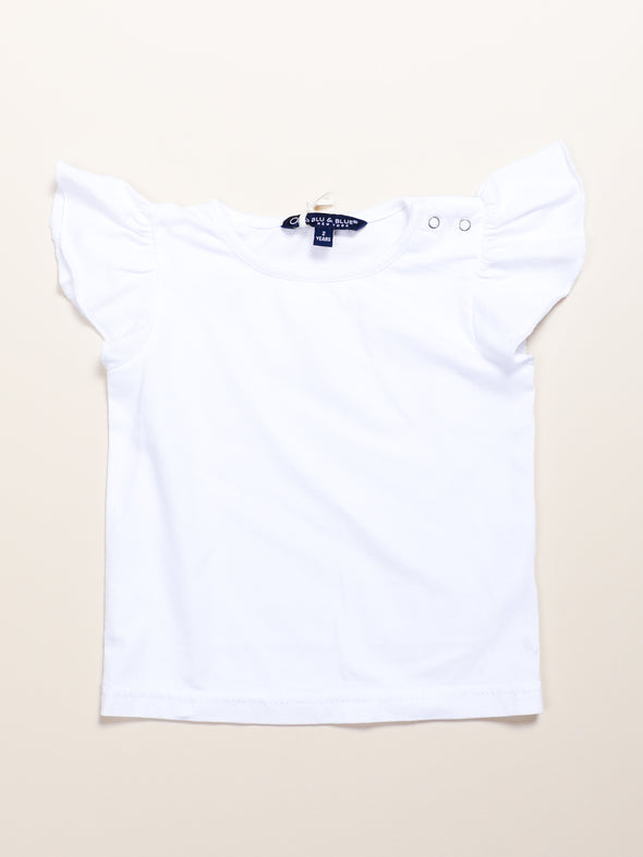 White Flutter Sleeve T-Shirt