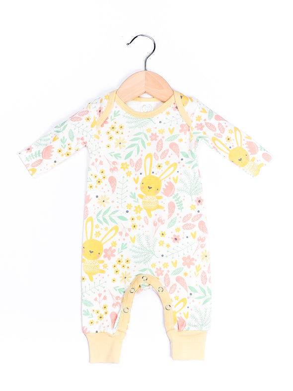 Yellow Bunnies Floral Romper