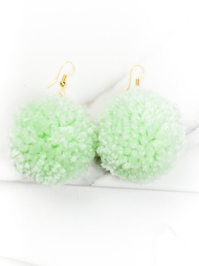 Kids Pom Earrings - Mint