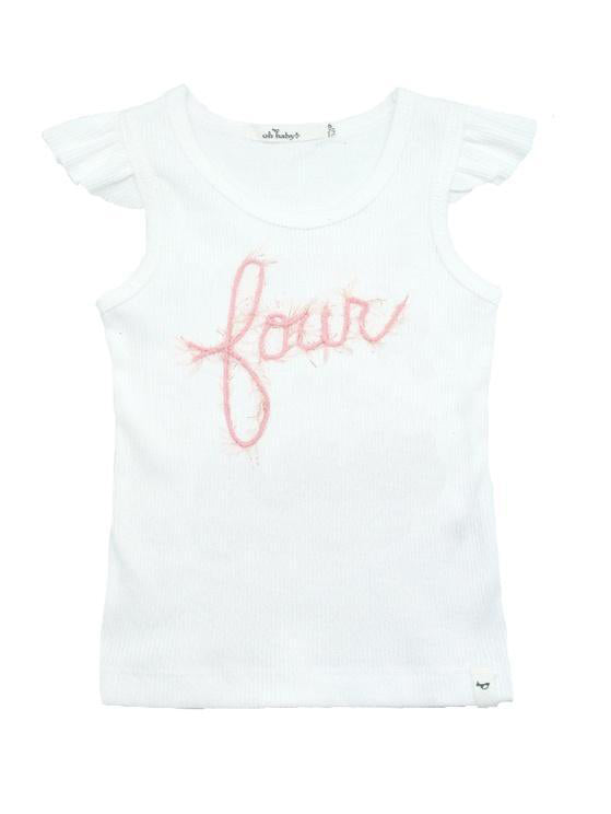 Oh Baby! Fourth Birthday Flutter Sleeve Tank Top