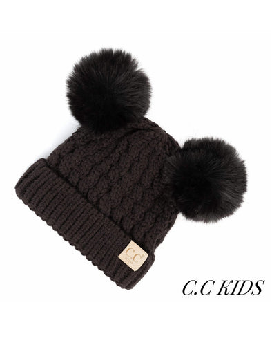C.C. Solid Cable Knit Double Pom Kids Beanie