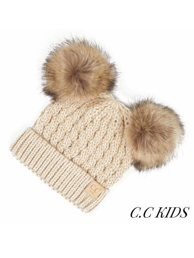 C.C. Faux Fur Double Pom Kids Beanie