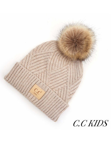 C.C. Criss-Cross Knit Fur Pom Kids Beanie