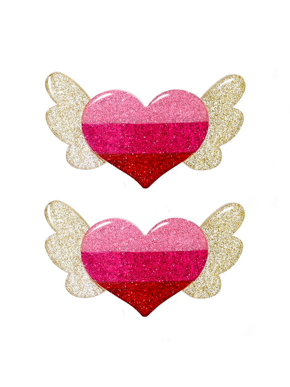 Winged Heart Glitter Pink Alligator Clip
