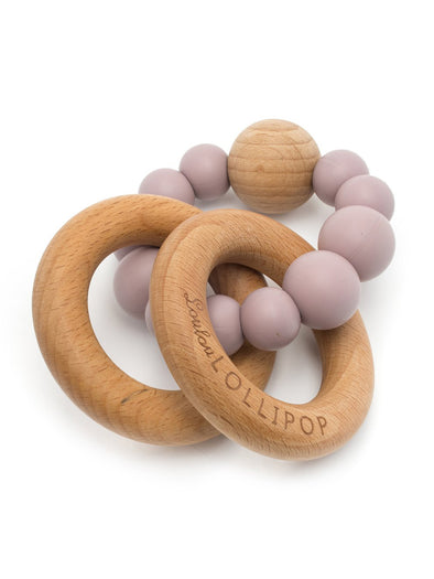 Loulou Lollipop Bubble Silicone and Wood Teether - Dusty Mauve