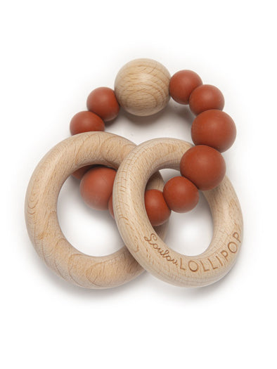 Loulou Lollipop Bubble Silicone and Wood Teether - Rust