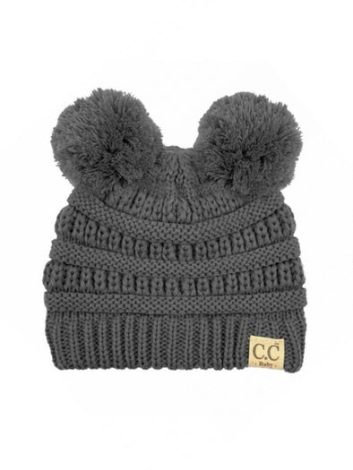 CC Solid Double Pom Baby Beanie Dark Grey