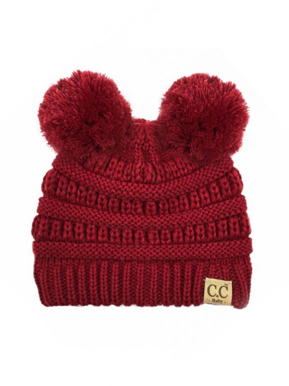 CC Solid Double Pom Baby Beanie Red