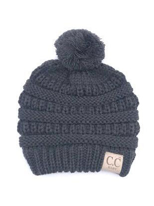 CC Solid Single Pom Baby Beanie Dark Grey