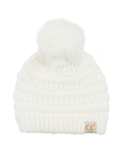 CC Solid Single Pom Baby Beanie Ivory