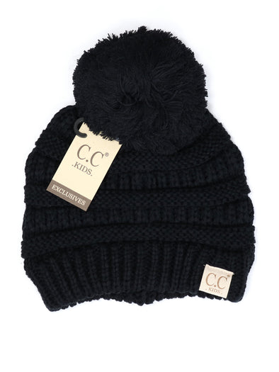 CC Solid Single Pom Baby Beanie Black