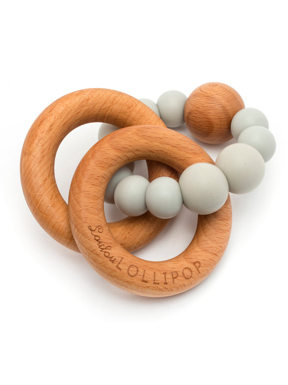 Loulou Lollipop Bubble Silicone and Wood Teether - Gray