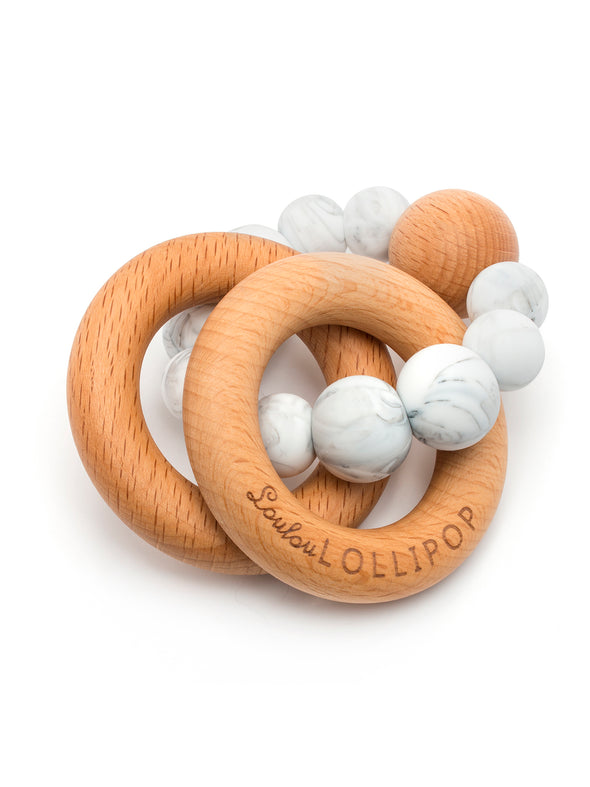 Loulou Lollipop Bubble Silicone and Wood Teether -Marble
