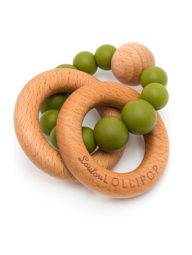 Loulou Lollipop Bubble Silicone and Wood Teether -Olive