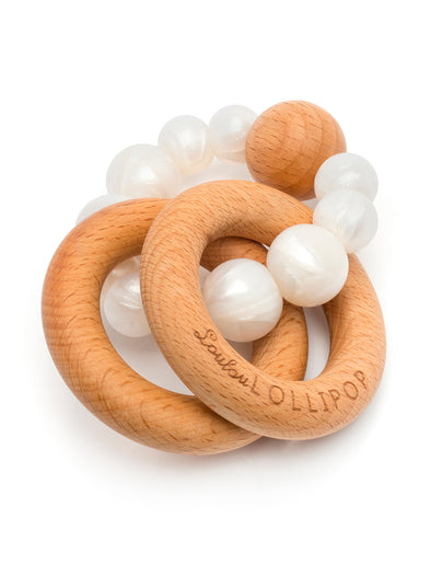 Loulou Lollipop Bubble Silicone and Wood Teether -Pearl
