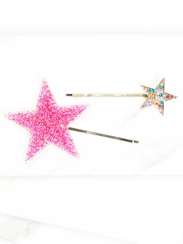 Glitter and Crystal Star Hair Pin Set