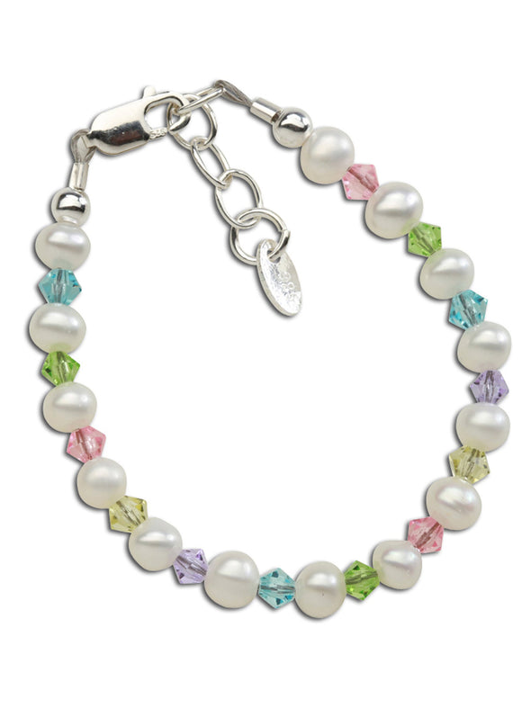 Daniela Sterling Silver Pearl Bracelet with Multicolor Crystals
