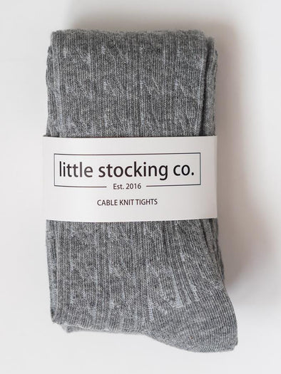Little Stocking Co. Gray Cable Knit Tights