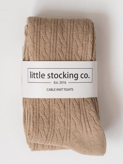 Little Stocking Co. Oat Cable Knit Tights
