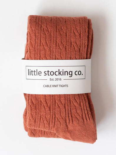 Little Stocking Co. Rust Cable Knit Tights
