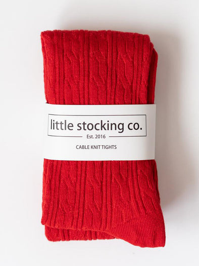 Little Stocking Co. True Red Cable Tights