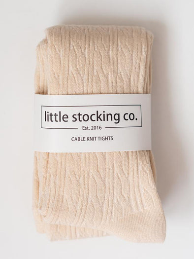 Little Stocking Co. Vanilla Cable Knit Tights