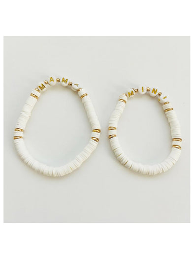 Mama & Mini Set Bracelets - White/Gold