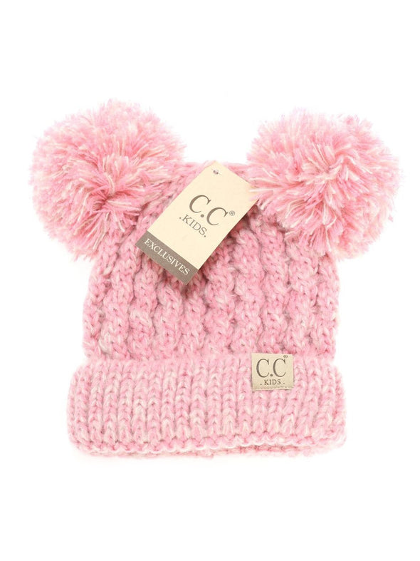CC Multi Tone Double Pom Kids Beanie Rose Pink