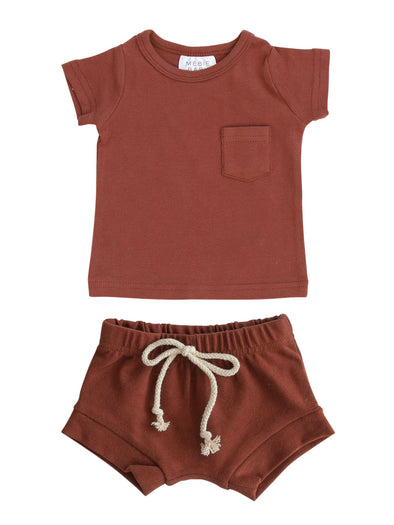 Mebie Baby Brick Cotton Pocket Tee & Short Set