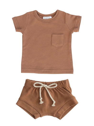 Mebie Baby Honey Cotton Pocket Tee & Short Set