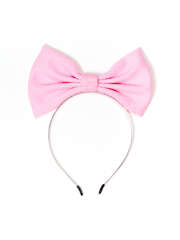 Straight Up Hair Bow Band-Pink